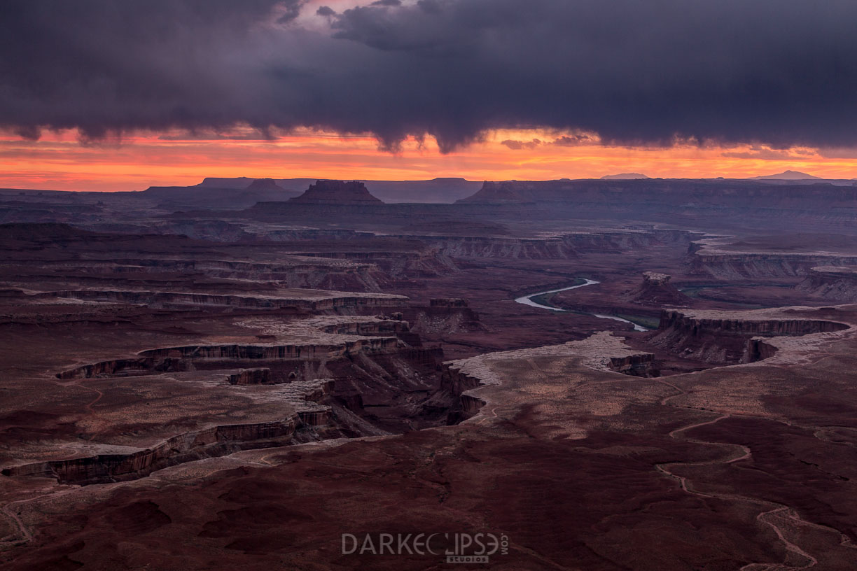Green River Overlook during sunset storm